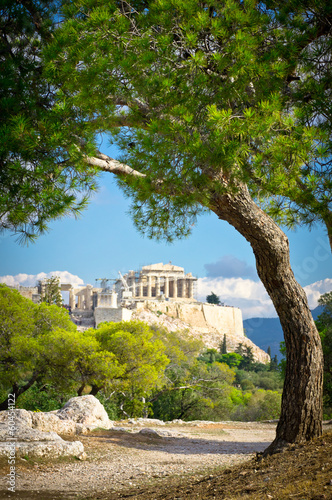 Montage in der Fensternische Athen Beautiful view of ancient Acropolis, Athens, Greece