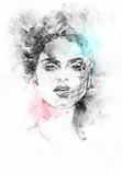 Śliczna kobieta . Ręcznie malowane ilustracja moda - 60460198