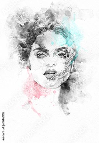 Poster Portrait Aquarelle Beautiful woman . Hand painted fashion illustration