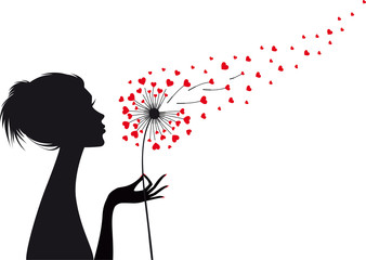 Fototapetawoman and dandelion with red hearts, vector