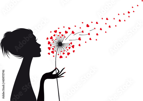 woman and dandelion with red hearts, vector - 60470746