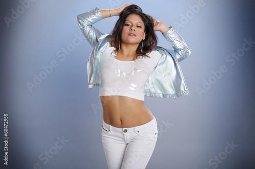 Fotografie, Obraz  Hot latino girl on blue