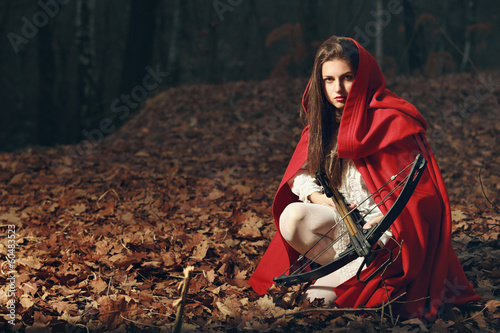 Little red riding hood  in the dark forest Plakát