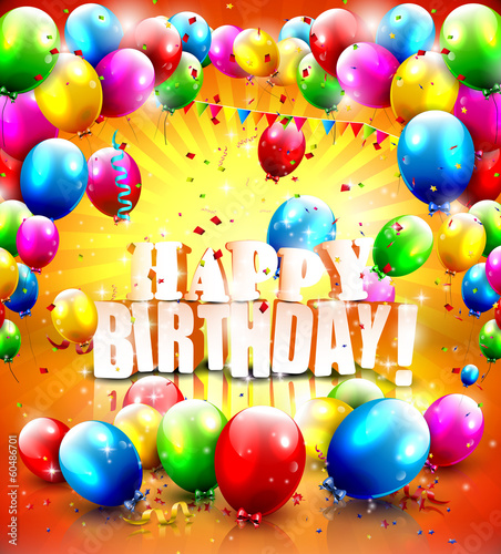 Photo  Realistic glossy Birthday poster with flying balloons