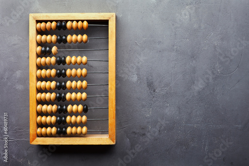 Accounting abacus on gray textured background Canvas Print