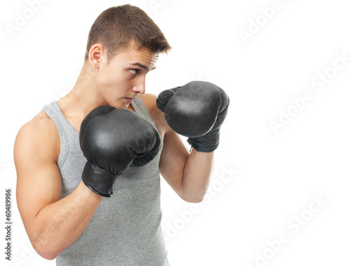 Foto  muscular young boxer man ready to fight