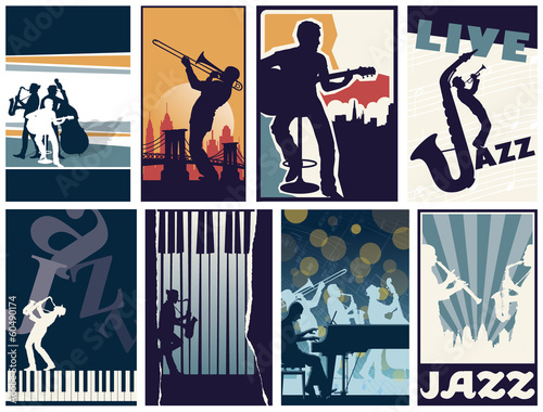 Set of 8 different vector jazz posters Poster