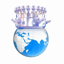 Fantastic Crown On Earth Isolated On White Background