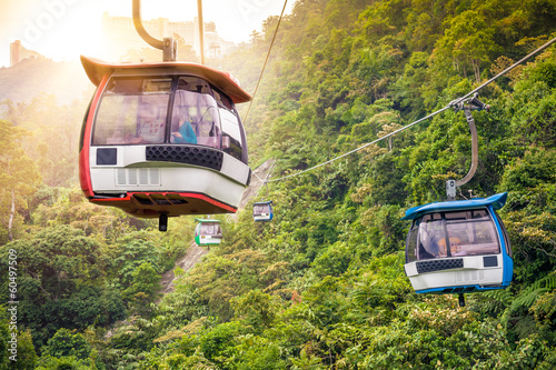 Aerial tramway moving up in tropical jungle mountains Wallpaper Mural
