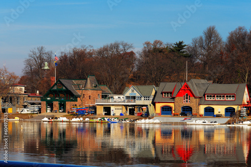The famed Philadelphia's boathouse row in Fairmount Dam Fishway Canvas Print