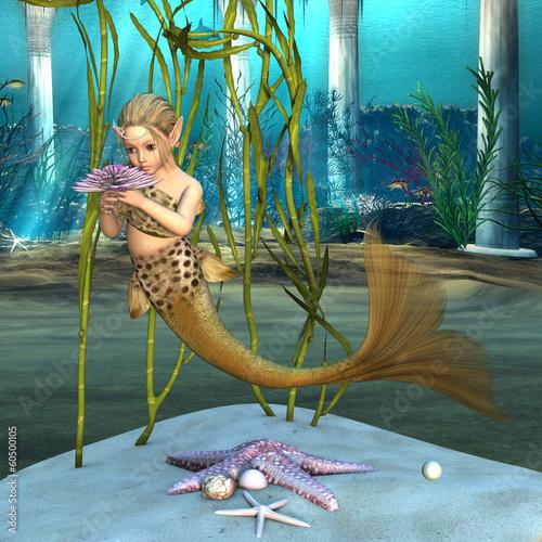 Little Mermaid holding Anemone Flower Poster
