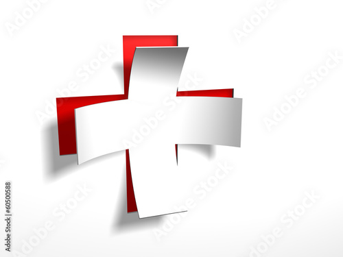 White cross with red back Canvas-taulu