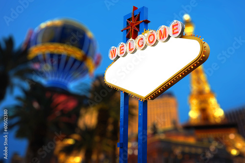 Poster Las Vegas Blank Welcome To Las Vegas neon sign