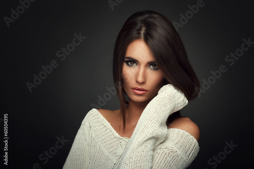Tuinposter Kapsalon beautiful woman in white sweater