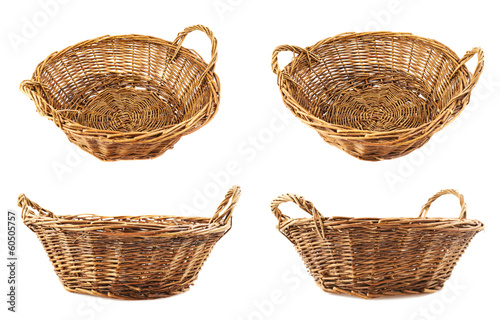 Fotografie, Obraz  Brown wicker basket isolated
