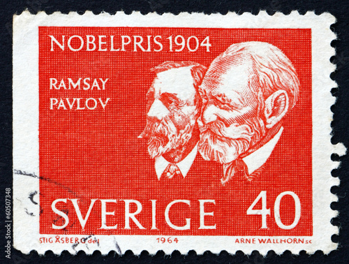 Photo  Postage stamp Sweden 1964 Sir Ramsey and Pavlov
