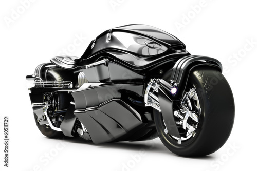 Futuristic custom motorcycle concept on a white background.