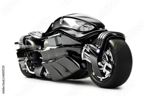 Fotografie, Obraz  Futuristic custom motorcycle concept on a white background.