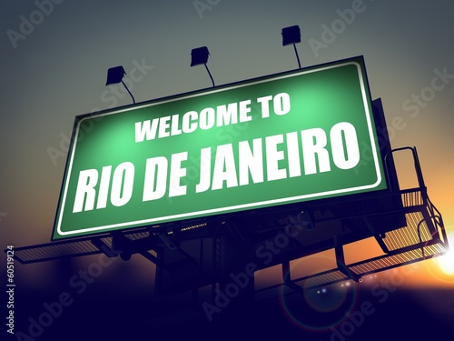 Billboard Welcome to Rio De Janeiro at Sunrise. Poster
