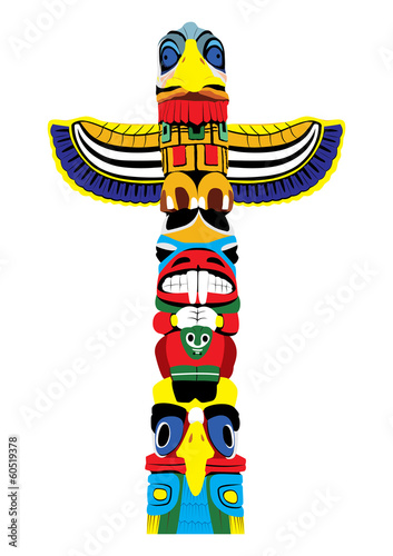 Colorful totem pole. Isolated on white background. Vector EPS10. Wall mural