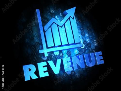 Fotografía  Revenue Concept on Dark Digital Background.