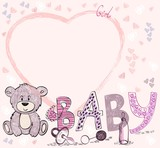 Cute hand drawn  frame with baby elements.