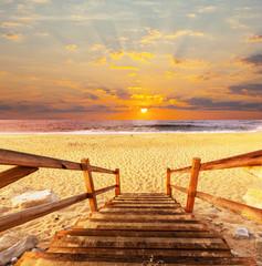 Obraz na PlexiBoardwalk on beach