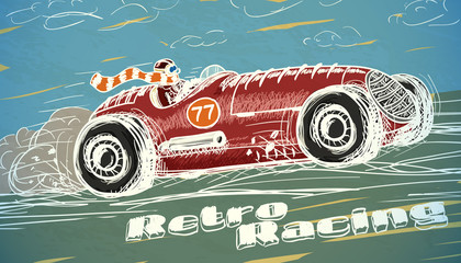 FototapetaRetro racing car poster