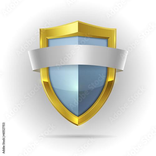 Fotografie, Obraz  Guard shield with blank ribbon emblem