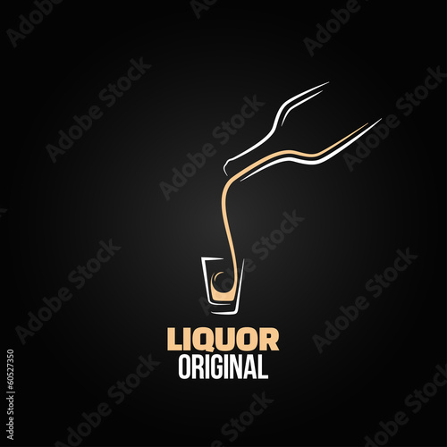 Fotografie, Obraz  liquor shot glass bottle design menu background