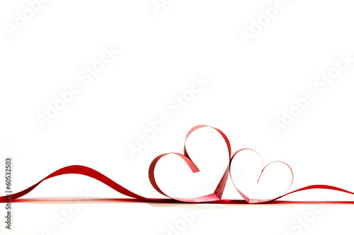 Fotografia  Red heart ribbons