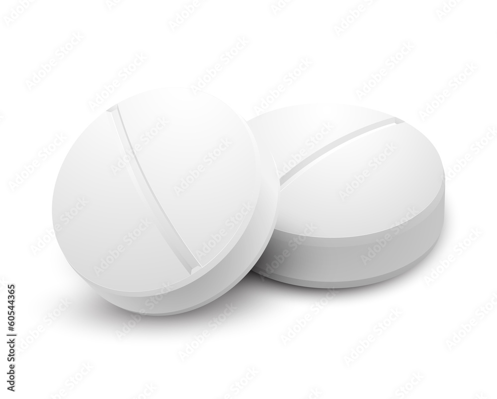 Fototapeta Two pills isolated on white