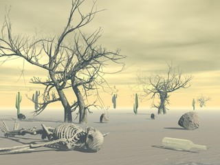 Naklejka Skeleton in the desert - 3D render