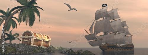 Naklejka premium Piracki statek znajdujący skarb - 3D render