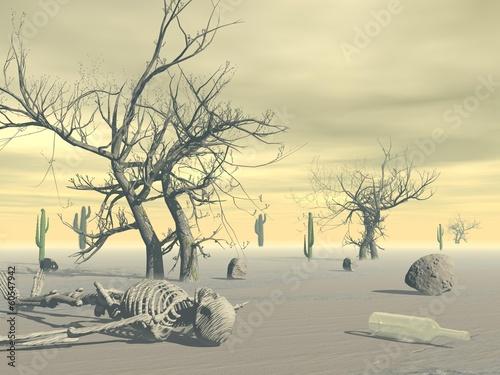 Skeleton in the desert - 3D render - 60547942