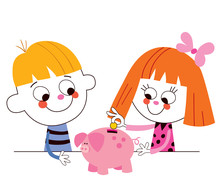 Little Boy And Girl With Piggy...