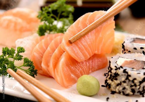 Recess Fitting Sushi bar Sashimi and sushi on white plate