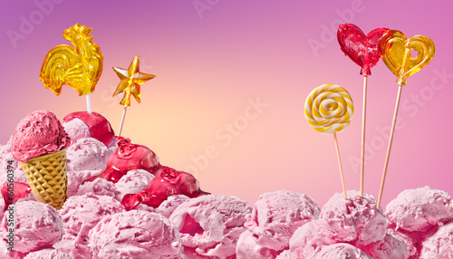 Cadres-photo bureau Rose banbon sweet magical landscape of ice cream and candy