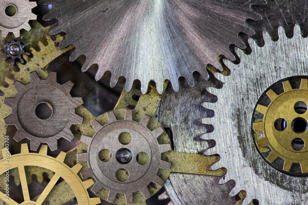 Fototapeta clock mechanism gears and cogs macro