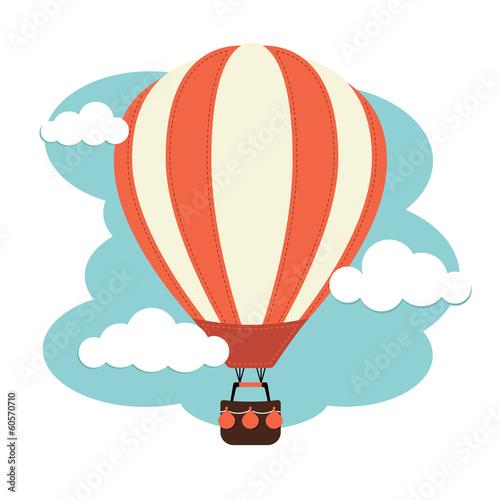 Hot Air Balloon and Clouds Wallpaper Mural