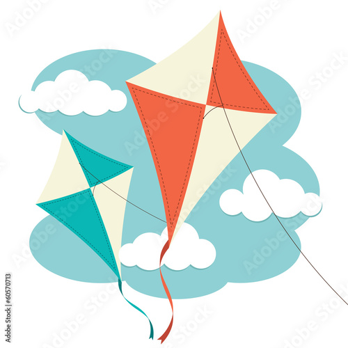 Kites and Clouds Wallpaper Mural