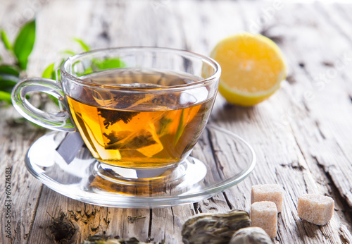 Staande foto Thee Transparent cup of green tea