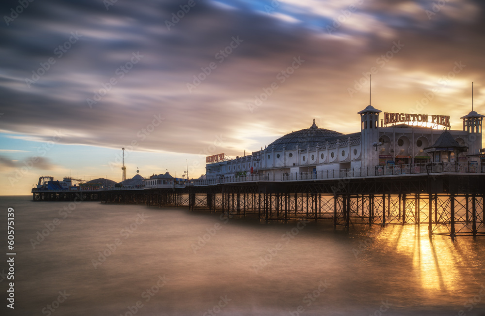 Fototapeta Winter sunset long exposure over Brighton pier.