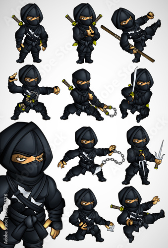 Photo  Set of 11 Ninja poses in a black suit