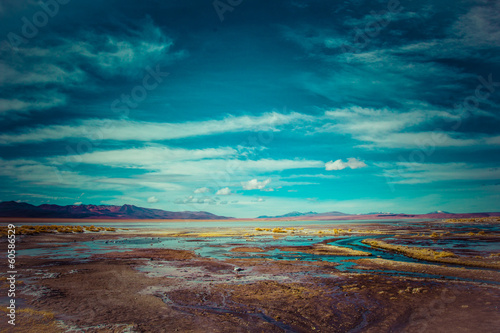 Photo sur Aluminium Bleu vert Desert and mountain on Altiplano,Bolivia