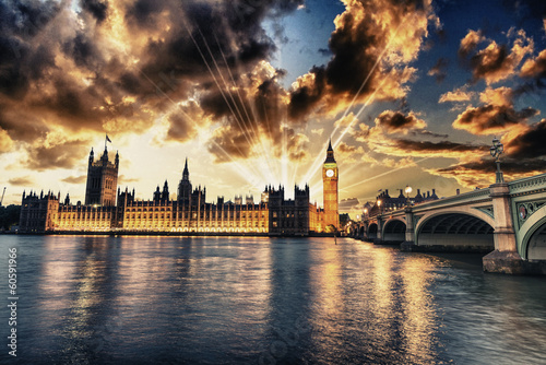 Foto op Canvas Londen Beautiful view of Westminster by night