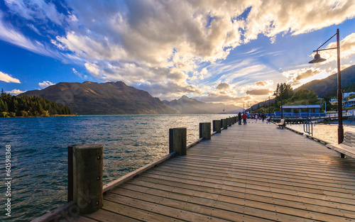 City on the water Wooden pier at lake Wakatipu, Queenstown, New Zealand