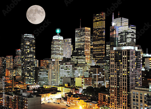 Toronto center. Night city view.