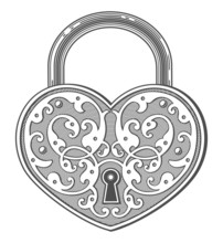 Heart Shaped Padlock In Vintage Engraved Style
