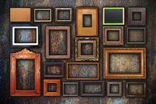 Grunge Wall Full Of Old Frames